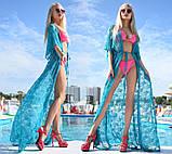 """Жіноча стильна пляжна туніка 9097 """"Гіпюр Квітка Максі"""" в кольорах, фото 7"""