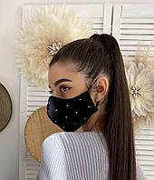 Маска защитная тканевая модная красивая декорирована стразами Mm2, фото 1