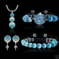 Набор шамбала (часы, серьги, подвеска, браслет) серебро 925