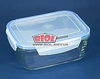 Посуд скляний герметичний 1,4 л прямокутний з пластиковою кришкою Borgonovo