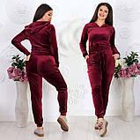 """Жіночий спортивний костюм до великих розмірів 499 """"Велюр Капюшон Кишені"""" в кольорах, фото 2"""