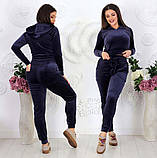 """Жіночий спортивний костюм до великих розмірів 499 """"Велюр Капюшон Кишені"""" в кольорах, фото 3"""