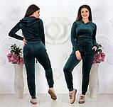 """Жіночий спортивний костюм до великих розмірів 499 """"Велюр Капюшон Кишені"""" в кольорах, фото 4"""
