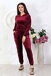 """Жіночий спортивний костюм до великих розмірів 499 """"Велюр Капюшон Кишені"""" в кольорах, фото 5"""