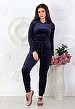 """Жіночий спортивний костюм до великих розмірів 499 """"Велюр Капюшон Кишені"""" в кольорах, фото 6"""