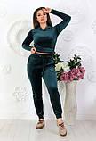 """Жіночий спортивний костюм до великих розмірів 499 """"Велюр Капюшон Кишені"""" в кольорах, фото 7"""