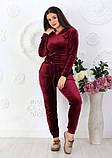 """Жіночий спортивний костюм до великих розмірів 499 """"Велюр Капюшон Кишені"""" в кольорах, фото 8"""