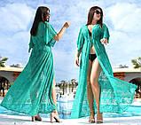 """Жіноча стильна пляжна туніка у великих розмірах 9097-2 """"Гіпюр Квітка Максі"""" в кольорах, фото 3"""