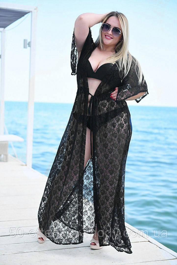 """Жіноча стильна пляжна туніка у великих розмірах 9097-2 """"Гіпюр Квітка Максі"""" в кольорах"""