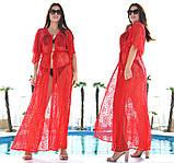 """Жіноча стильна пляжна туніка у великих розмірах 9097-2 """"Гіпюр Квітка Максі"""" в кольорах, фото 5"""