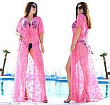 """Жіноча стильна пляжна туніка у великих розмірах 9097-2 """"Гіпюр Квітка Максі"""" в кольорах, фото 6"""