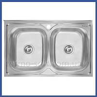 Двойная мойка для кухни из нержавейки Imperial 6080 Satin (IMP6080SAT) прямоугольная накладная