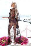 """Длинная женская пляжная туника до больших размеров 9321 """"Сетка Макси Горошек Флок"""" в расцветках, фото 2"""