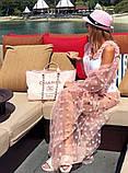 """Длинная женская пляжная туника до больших размеров 9321 """"Сетка Макси Горошек Флок"""" в расцветках, фото 5"""