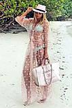 """Длинная женская пляжная туника до больших размеров 9321 """"Сетка Макси Горошек Флок"""" в расцветках, фото 9"""