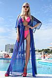 """Стильный летний шифоновый длинный сарафан с рукавом в больших размерах 9351-1 """"Сетка Макси"""" в расцветках, фото 4"""