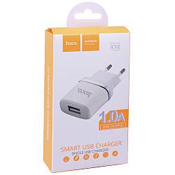 Зарядное устройство Hoco C11 Smart Home Charger (1 USB)(1A) (EU)