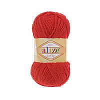 Плюшевая пряжа ализе SOFTY красного цвета 56