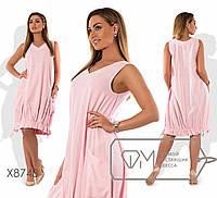Льняное платье женское с оборкой по подолу (3 цвета) PY/-4848 - Персик