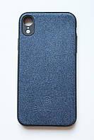 Чехол Fiji для Apple Iphone XR бампер с тканевой вставкой Baseus Skill Blue