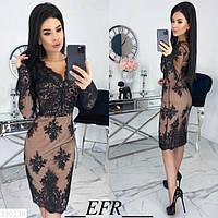 Платье DM-3767 ружево на костюмной ткани С,М