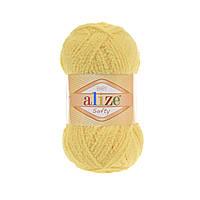 Плюшевая пряжа ализе SOFTY лимонного цвета 187