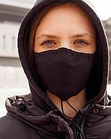 Удобная защитная многоразовая хлопковая маска для лица, повязка на лицо против вирусов. чёрный