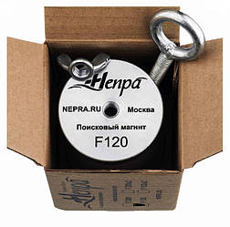 Односторонний поисковый магнит НЕПРА F120, ☑усилие на отрыв 150кг ✦ ТРОС  В ПОДАРОК ✦