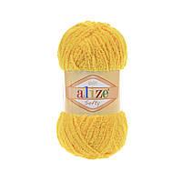 Плюшевая пряжа ализе SOFTY желтого цвета 216