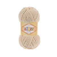 Плюшевая пряжа ализе SOFTY медового цвета 310