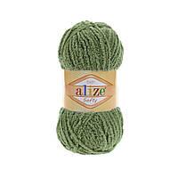 Плюшевая пряжа ализе SOFTY зеленого цвета 485