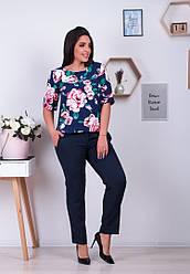 Костюм брючный женский : брюки+блуза цветочный принт  большие размеры.