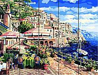 "Картина по номерам на дереве. Rainbow Art ""Город у моря"" RA117-RA"