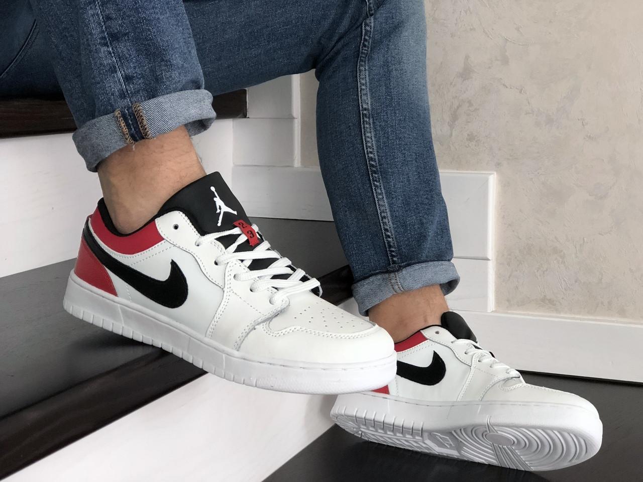 Чоловічі шкіряні кросівки Nike Air Jordan 1 Low (біло-червоні) 9154
