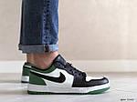 Мужские кожаные кроссовки Nike Air Jordan 1 Low (бело-зеленые) 9155, фото 3