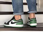 Мужские кожаные кроссовки Nike Air Jordan 1 Low (бело-зеленые) 9155, фото 4