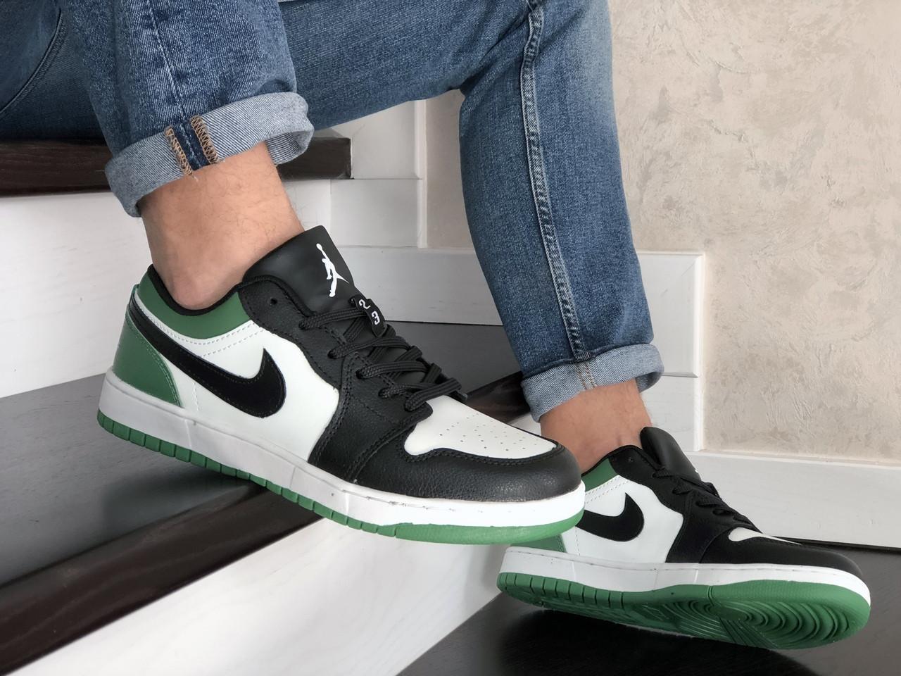 Мужские кожаные кроссовки Nike Air Jordan 1 Low (бело-зеленые) 9155