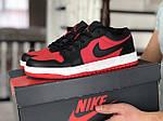 Мужские кожаные кроссовки Nike Air Jordan 1 Low (красно-черные) 9156, фото 2
