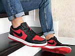 Мужские кожаные кроссовки Nike Air Jordan 1 Low (красно-черные) 9156, фото 4