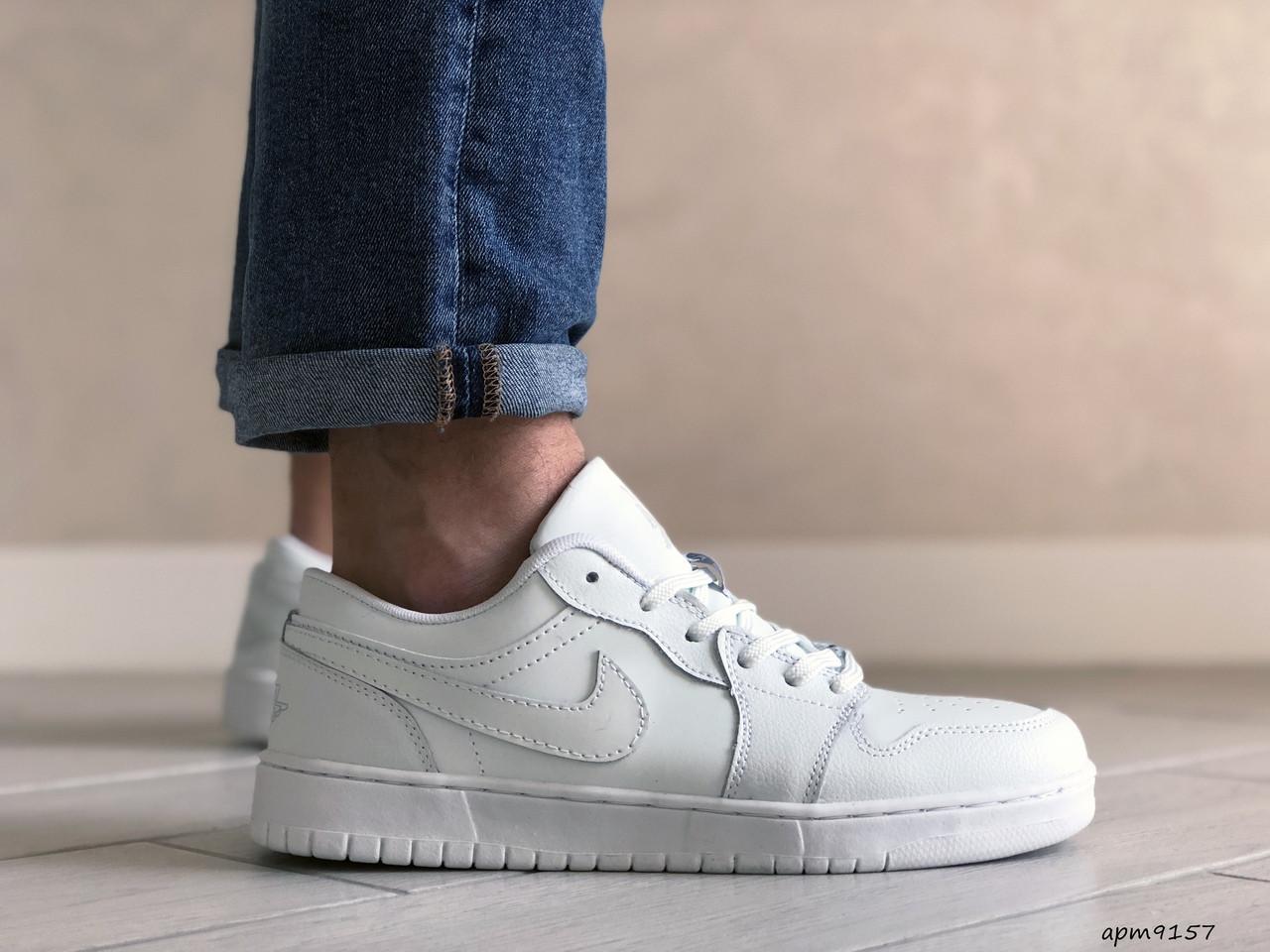 Чоловічі шкіряні кросівки Nike Air Jordan 1 Low (білі) 9157