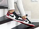 Жіночі шкіряні кросівки Nike Air Jordan 1 Low (біло-чорне з червоним) 9158, фото 2