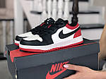 Жіночі шкіряні кросівки Nike Air Jordan 1 Low (біло-чорне з червоним) 9158, фото 3