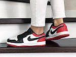 Жіночі шкіряні кросівки Nike Air Jordan 1 Low (біло-чорне з червоним) 9158, фото 4