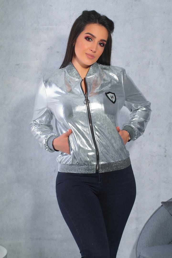 Куртка-бомбер кожа большие размеры серебро,золото.