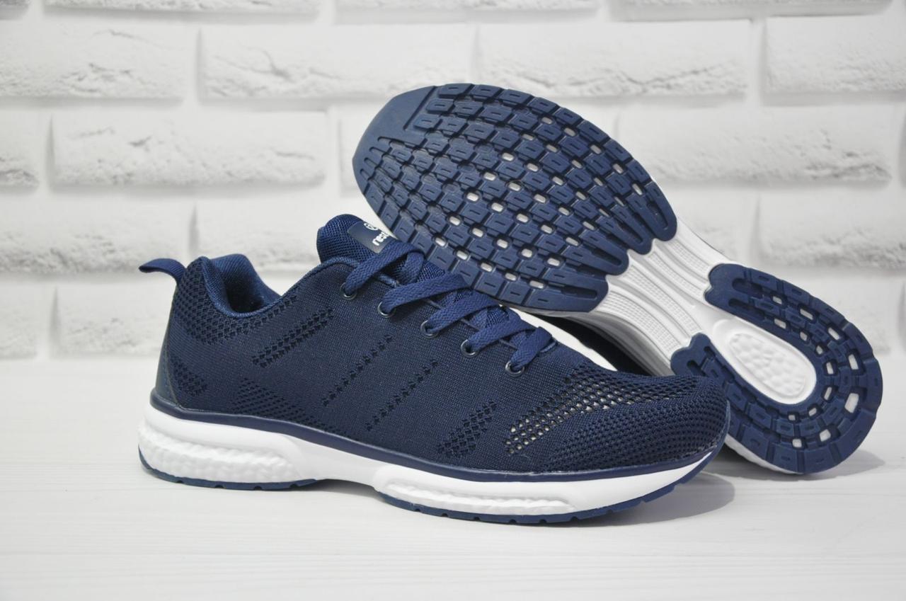 Мужские лёгкие кроссовки сетка синие Restime большие размеры:46,47