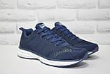 Мужские лёгкие кроссовки сетка синие Restime большие размеры:46,47, фото 2