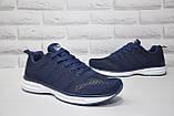 Мужские лёгкие кроссовки сетка синие Restime большие размеры:46,47, фото 5