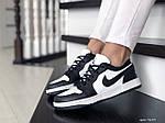 Жіночі шкіряні кросівки Nike Air Jordan 1 Low (біло-чорні) 9159, фото 2