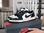 Жіночі шкіряні кросівки Nike Air Jordan 1 Low (біло-чорні) 9159, фото 3