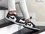 Жіночі шкіряні кросівки Nike Air Jordan 1 Low (біло-чорні) 9159, фото 4